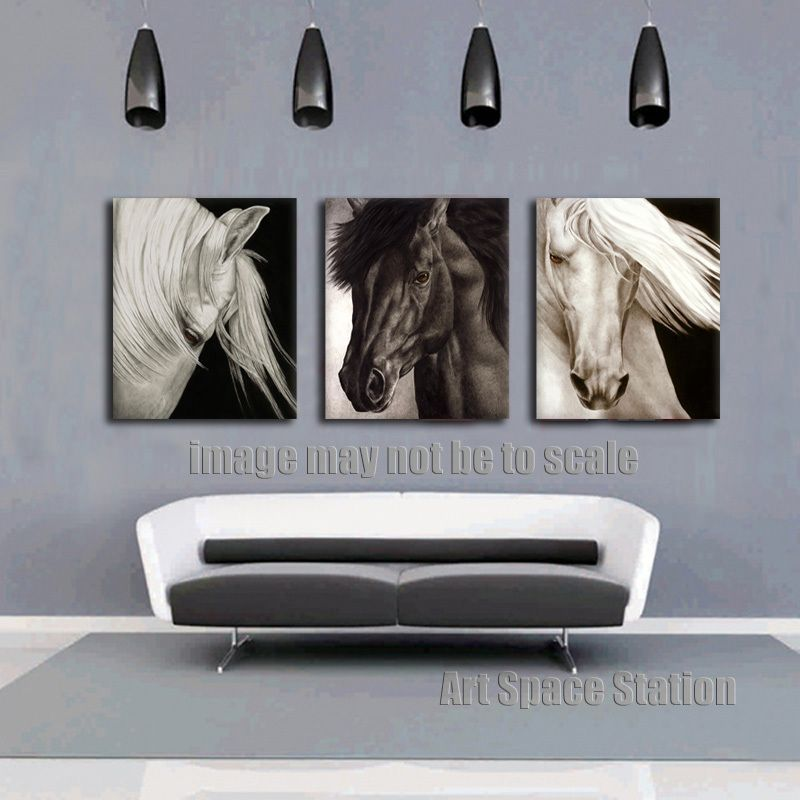 No Frame Modern Horse White And Black Painting Print On Canvas 3 Piece Animals Wall Art Pictures For Living Room Decoration