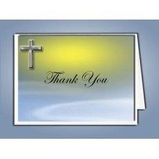 Blue Eternal Cross Funeral Thank You Card Template