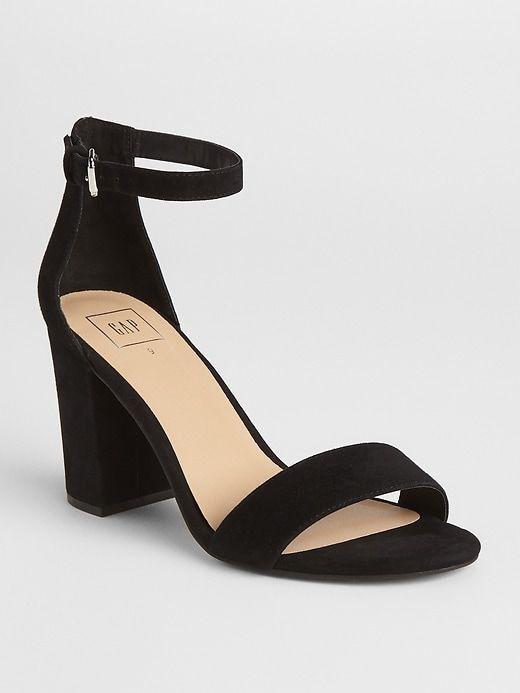 Block Heel Sandals In Suede Black Sandals Heels Heels Block Heels Sandal