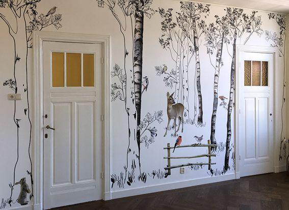 Kinderkamer Patronen Behang : Bos behang kinderkamer in kidsroom room en wall