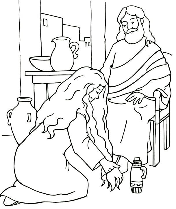 Woman washes Jesus\' feet Coloring Page | Bible - Luke (2014 focus ...