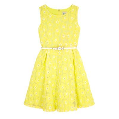 Yumi Girl Yellow Floral Lace Skater Dress Debenhams
