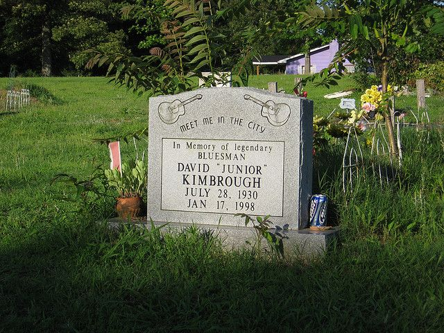 """Legendary """"Hill Country"""" bluesman Junior Kimbrough is buried in Marshall County, Mississippi."""