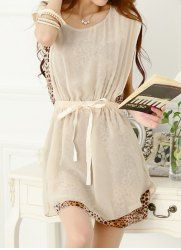 Fashionable Scoop Neck Faux Twinset Leopard Print Splicing Sleeveless Chiffon Women's Dress