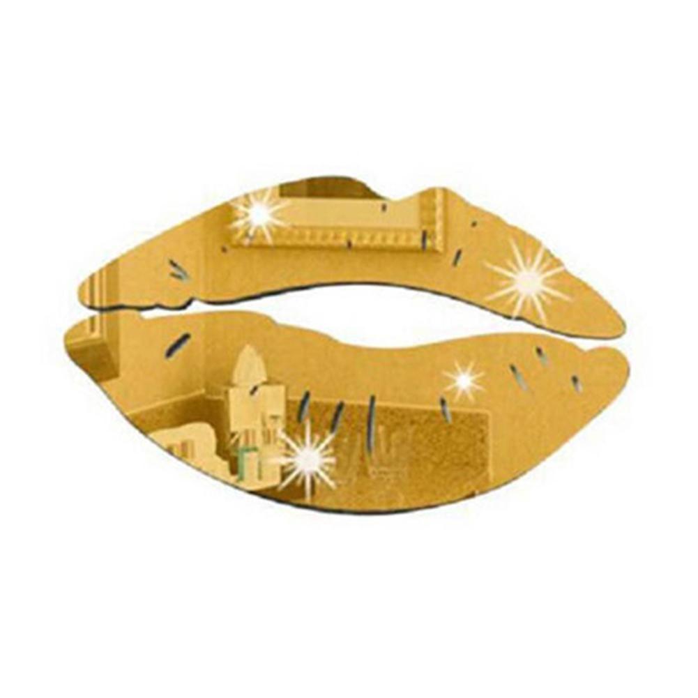 Photo of Fashion 3D Mirror Kiss Lip Wall Sticker DIY Art Mural Home Decor Acrylic Decal – Golden