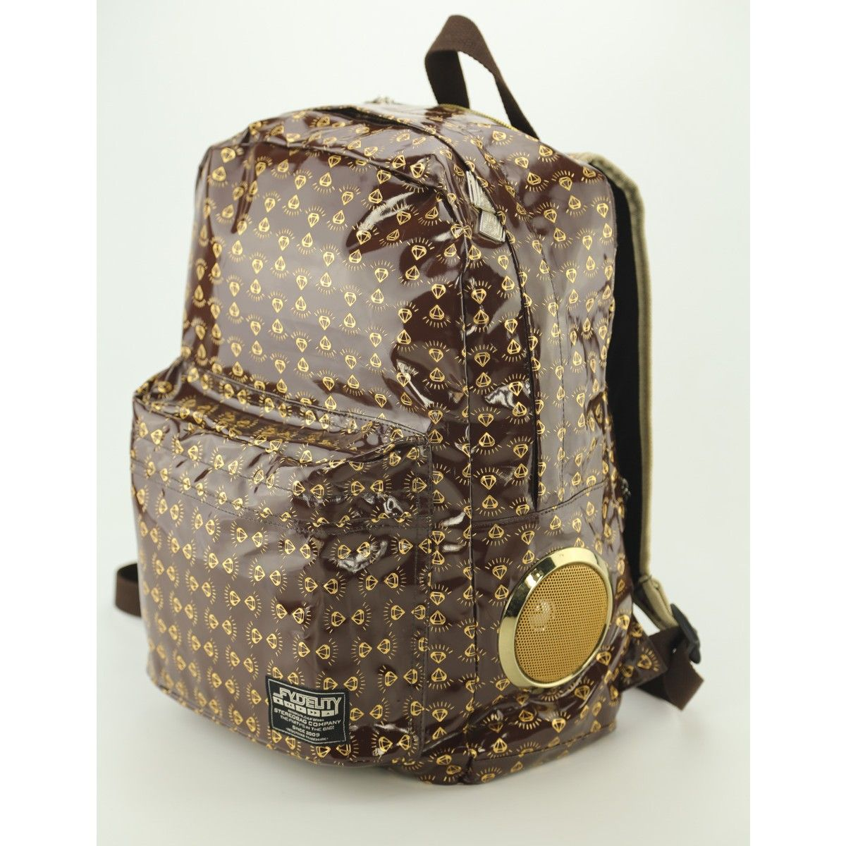 13c593b914dc9 Fydelity DAYTRIPPER Stereo Backpack- Gold Diamonds
