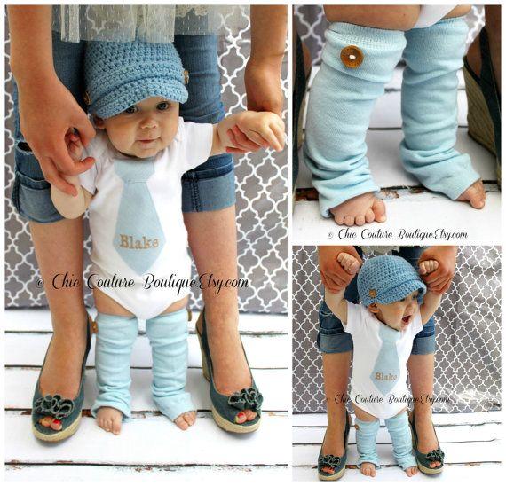 NEW Baby Boy Fall Baby Blue Herringbone Personalized Tie Onesie   Wood  Button Leg Warmers SET. Thanksgiving f1d142f63287