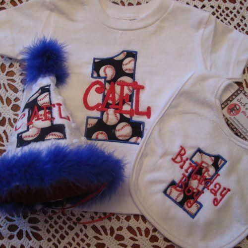 Baseball Theme Appliqued First Birthday Hat Shirt And Bib Set
