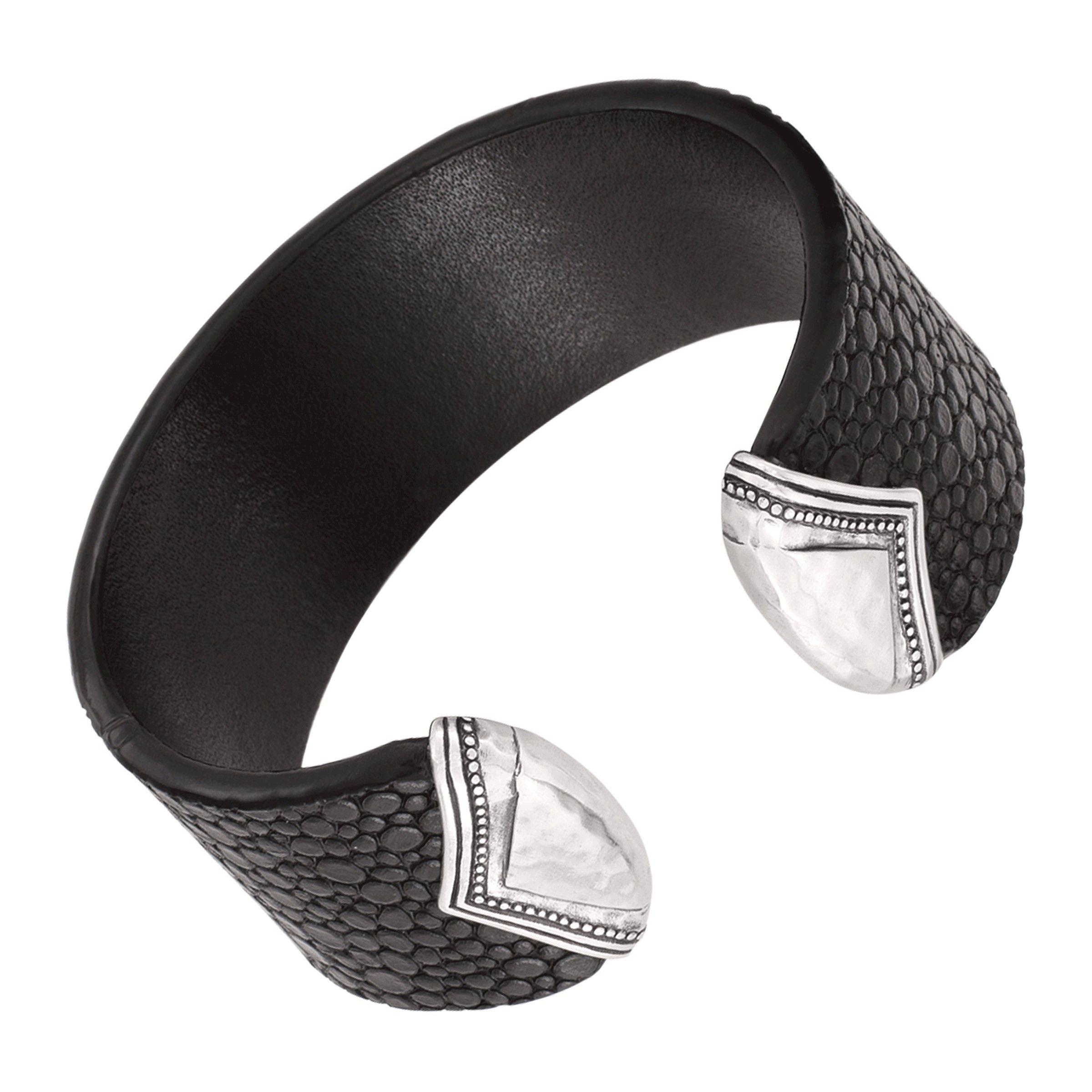 Sterling Silver Stingray Leather Cuff Bracelet Unique Sterling Silver Jewelry Black Cuff Bracelet Designer Sterling Cuff Bracelet
