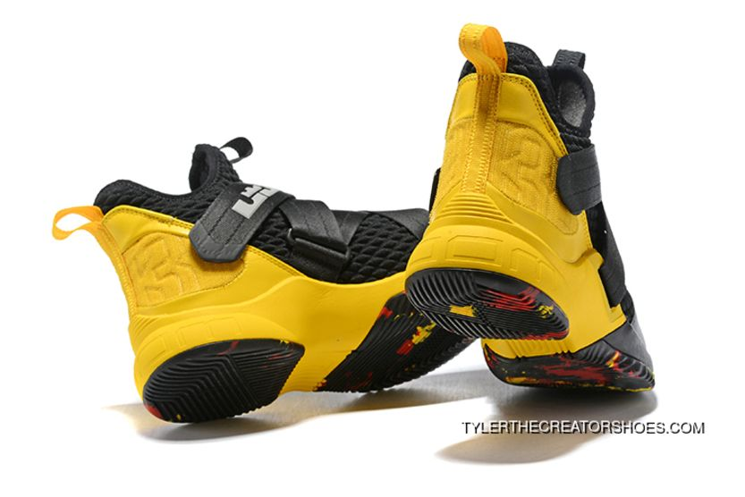 dbb2c2d24224 Nike LeBron Soldier 12 Black Yellow New Style
