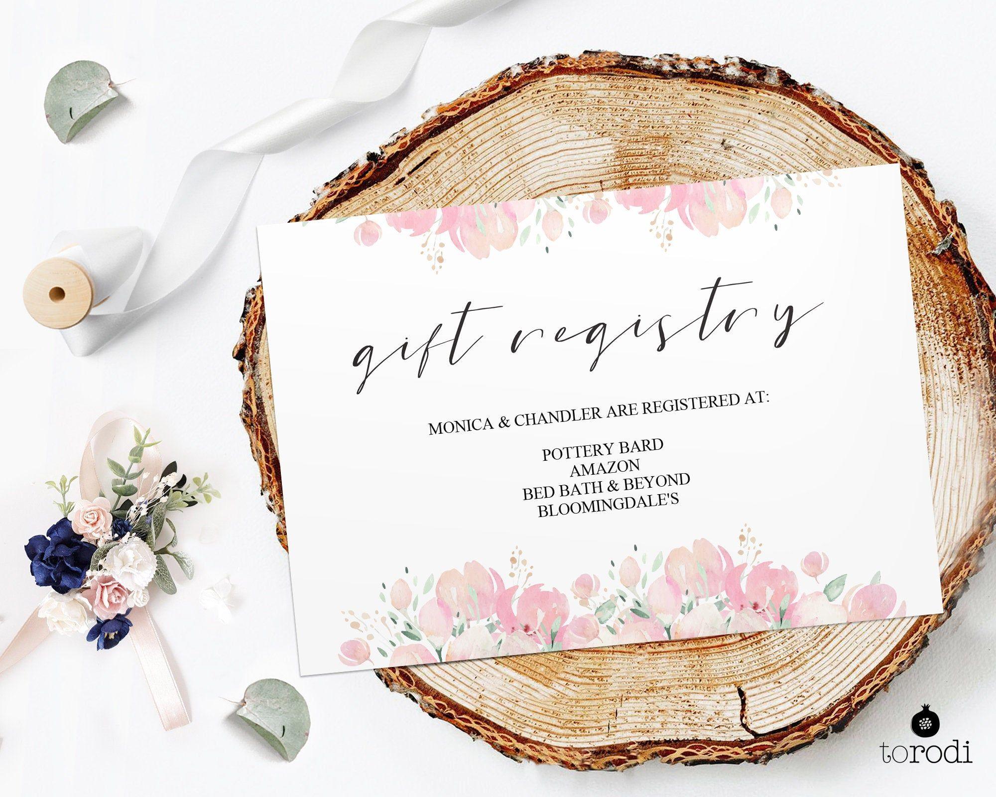 Gift Registry Card Template Wedding Registry Card Wedding Etsy Wedding Registry Cards Gift Registry Cards Registry Cards