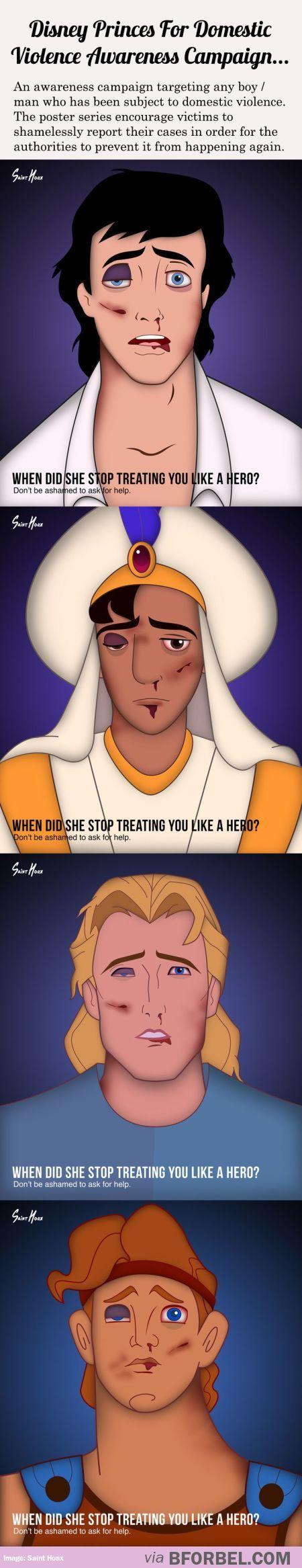Disney Princes Raise Awareness For Domestic Violence Against Men…