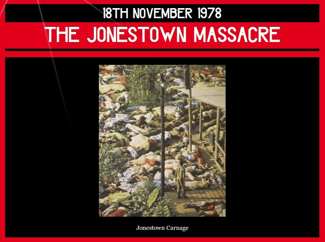 18th November 1978 – the Jonestown Massacre | Dorian Cope presents On This Deity    (via http://www.onthisdeity.com/18th-november-1978-%e2%80%93-the-jonestown-massacre/ )