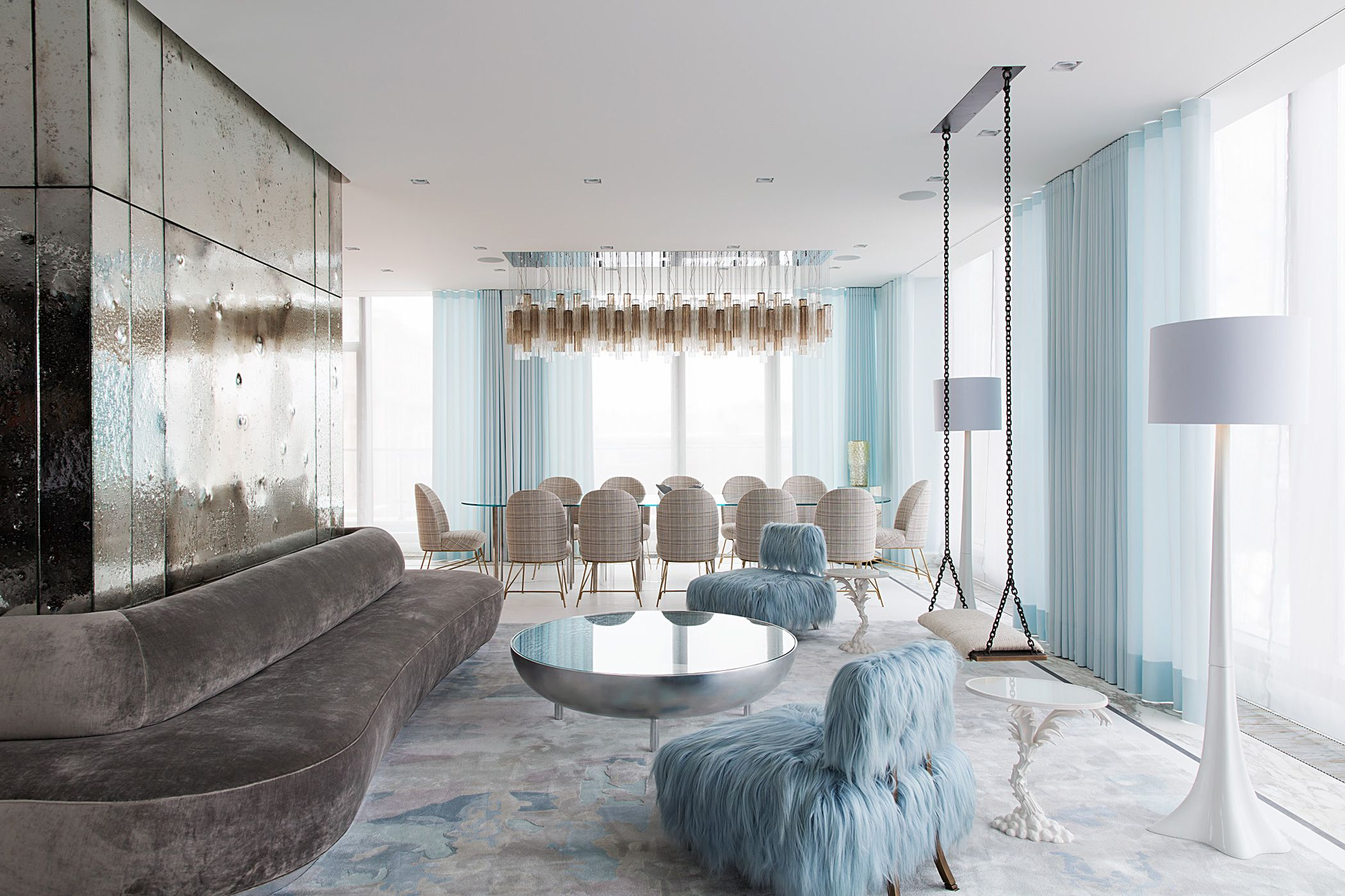 Beetley Chairs by Jaime Hayon for Sé, Young Tree Floor Lamp by Damien Langlois-Meurinne for Sé | Moscow Apartment by Art of Decor