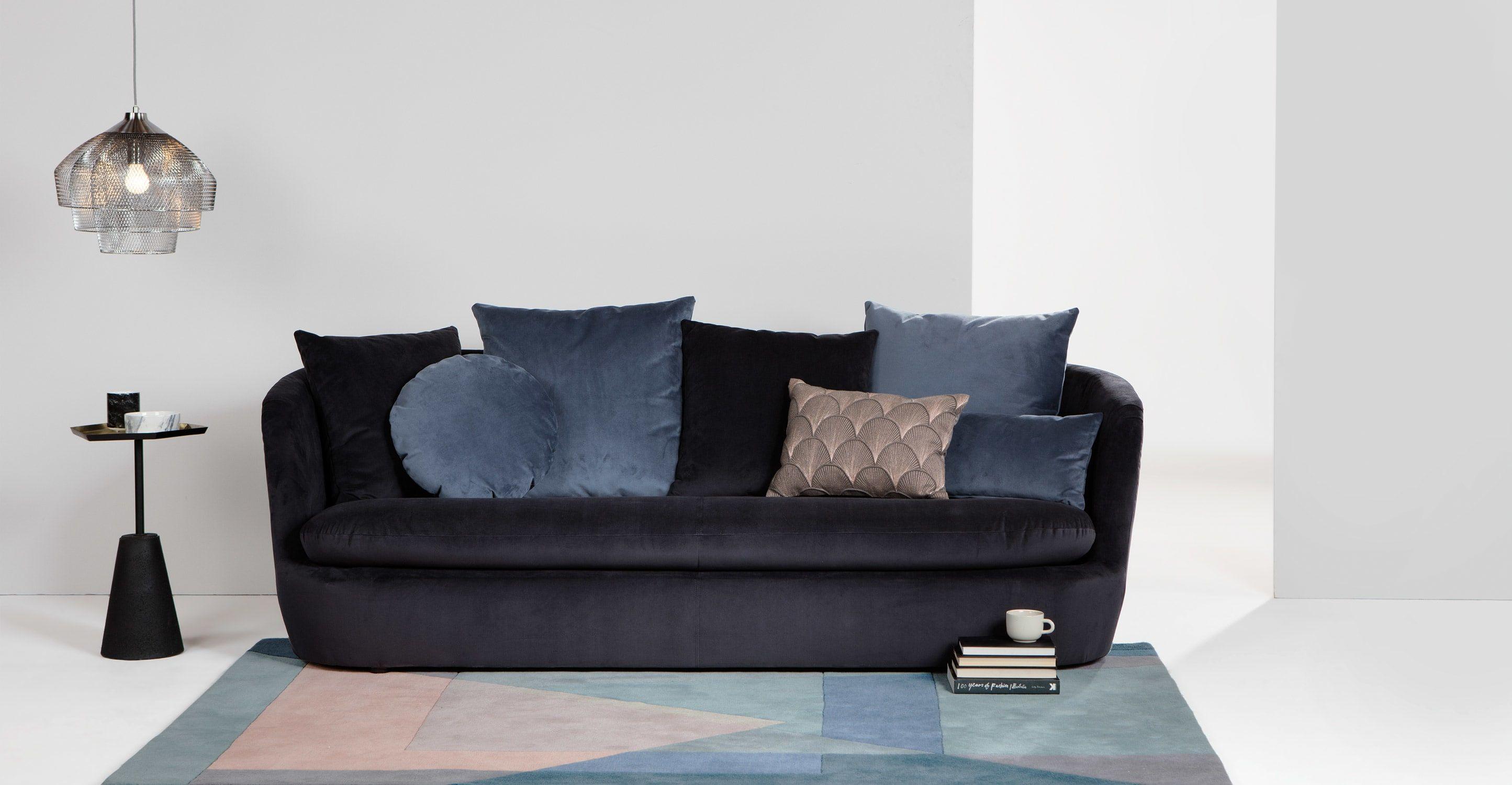 Demi 3 Sitzer Sofa Samt in Tintenblau