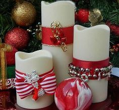Decorating candles for christmas gifts