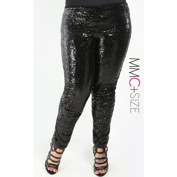 Sparkle Sequin Leggings Plus Size ($39) ❤ liked on Polyvore ...