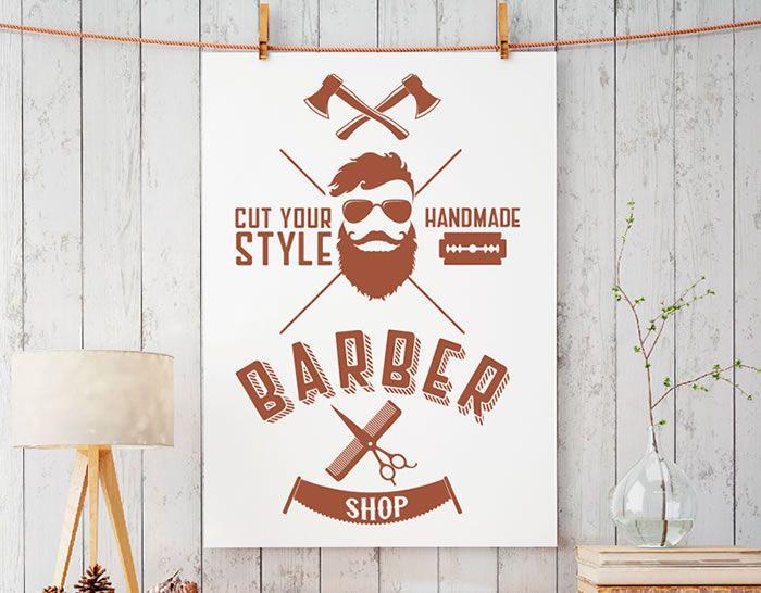 decoración barberías barber shop vinilos decorativos