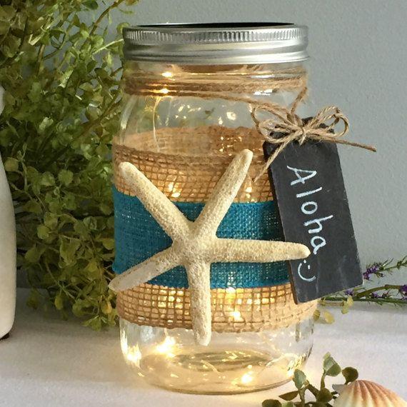 Mason Jar Light / Beach Decor / Starfish / by FollowThePotomac