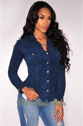 a8395e4c Navy Blue Faux Suede Button Down Shirt in 2019 | Fashion Tops ...