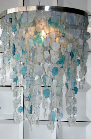 Round Sea Glass Chandelier. I'm scrapping the faux capiz shell chandelier (far more work involved with making the shells) and doing this for my entry way ceiling light!