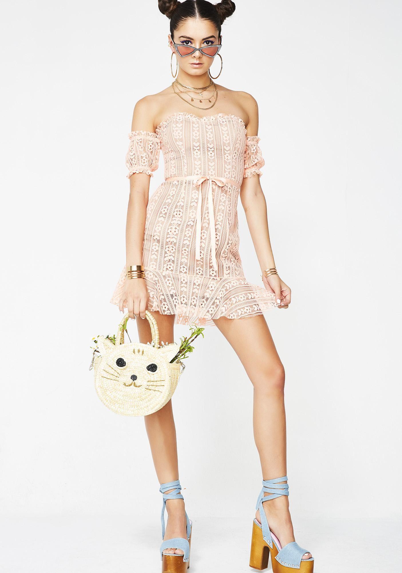 Peach Dakota Lace Mini Dress Mini Dresses Peach And