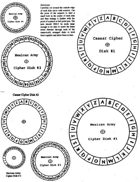 Make your own cipher wheel! http://www.secretcodebreaker
