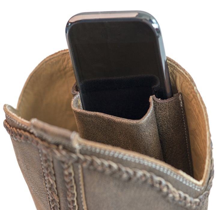 df6883f3ed Trendy leather cowboy boot with patented hidden pockets for cell phones,  credit cards & passports. Perfect for horseback riding and the Calgary  Stampede!