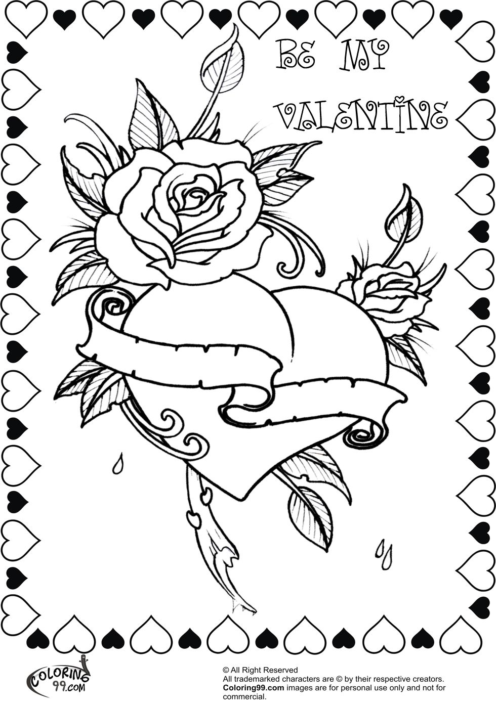 Valentine bookmark to color - Bbeautiful Rose Heart Valentine Coloring Pages For Adults Free Download