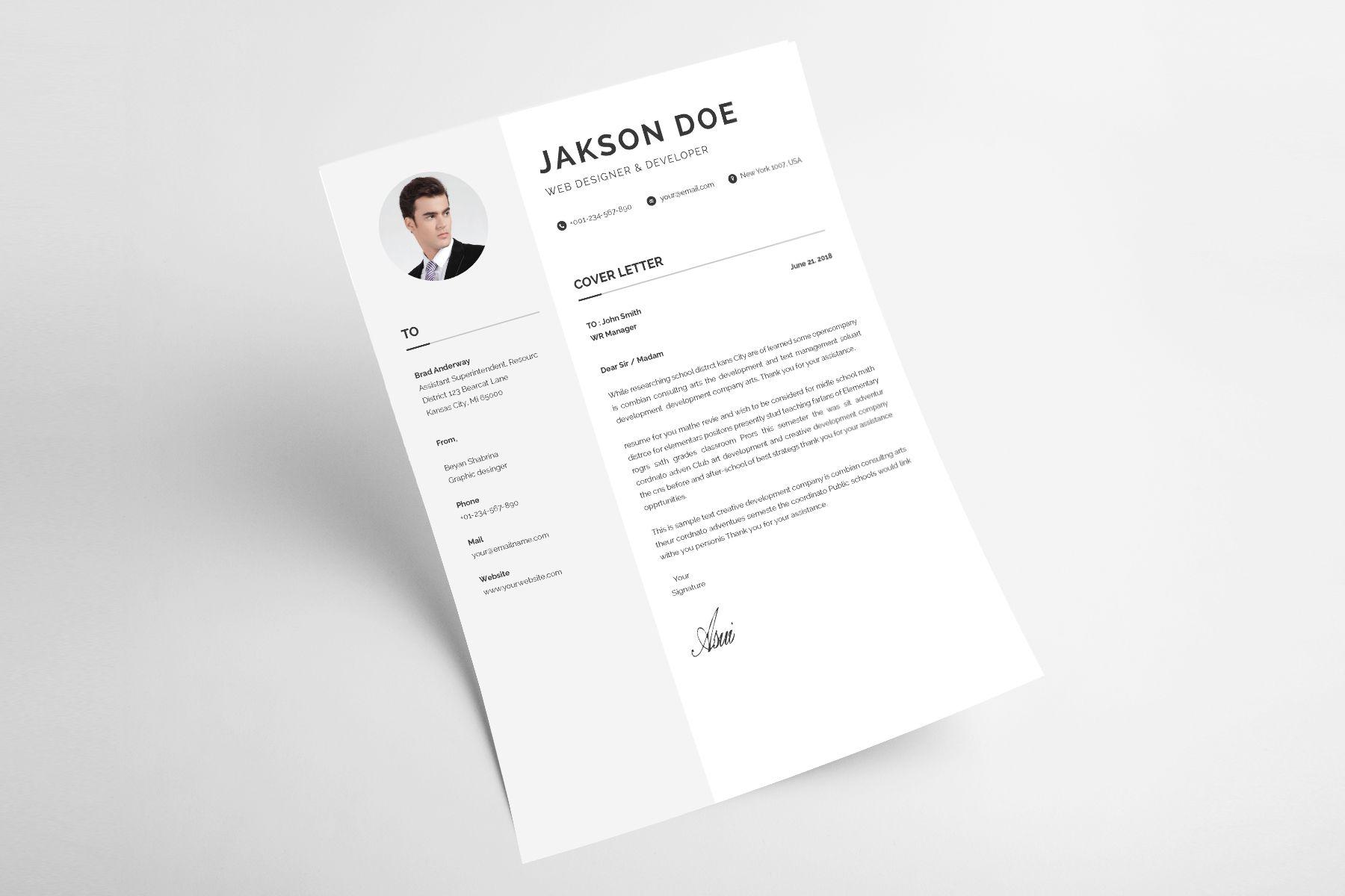 Jakson Doe Web Designer Developer Cv Resume Template 71811 Web Design Cv Resume Template Resume Template