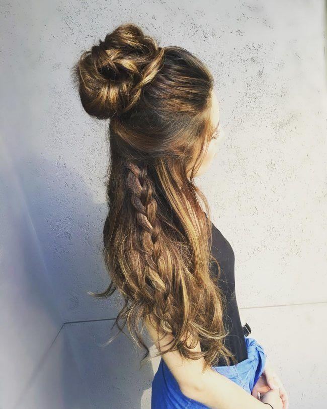 Messy bun on beachy hair u p side d o w n side pinterest 60 cute easy half up half down hairstyles wedding prom urmus Gallery