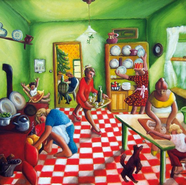 'Christmas Kitchen' By Painter Sue Richardson. Blank Art Cards By Green Pebble. www.greenpebble.co.uk