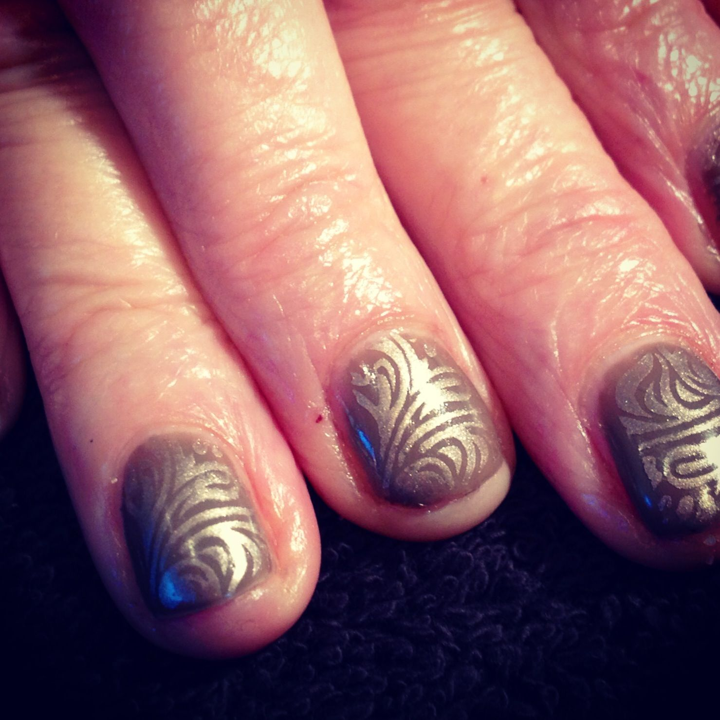 Shellac nails with konad overlay. Photo by Louise Leake