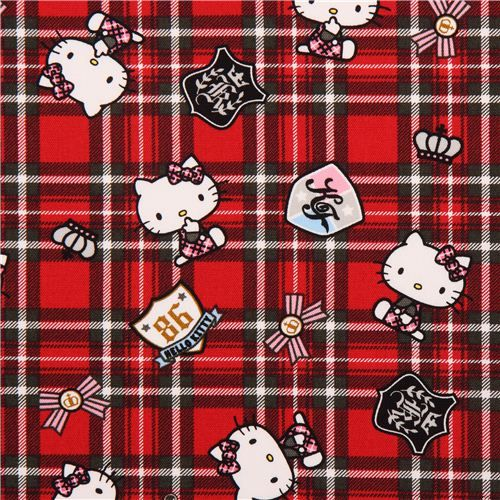 red Hello Kitty oxford fabric plaid tartan by Sanrio from Japan 1