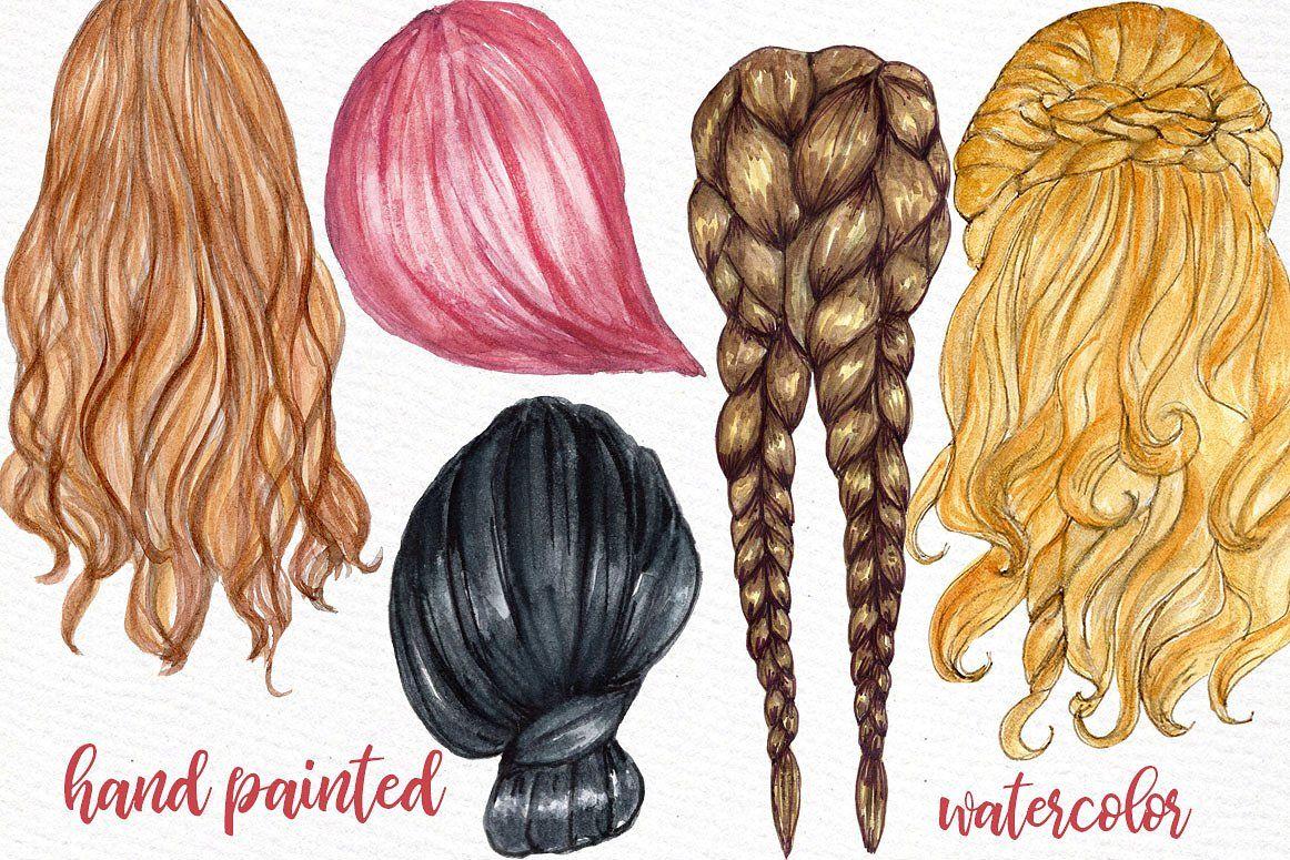 Watercolor Hairstyles Clipart Hair Clipart Hair Styles Clip Art