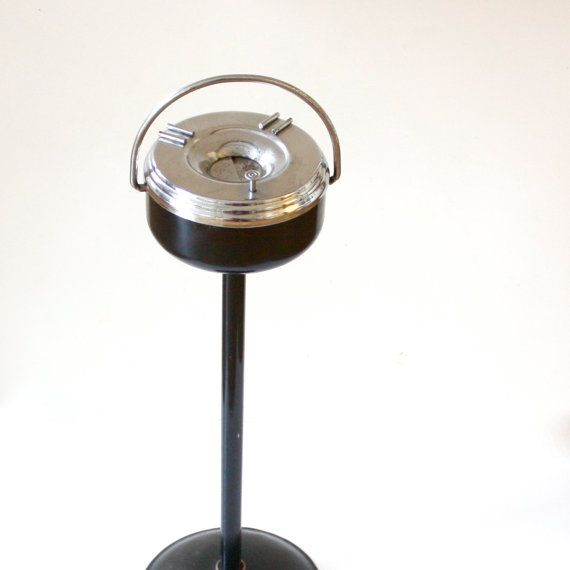 Vintage Art Deco Ashtray Stand - Chrome and Cast Iron | Vintage ...