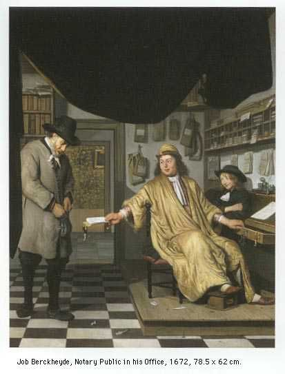 "Notary Artwork: Job Berckheyde, ""Notary Public in His Office"" 1672"