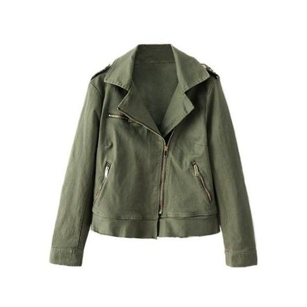 a950df2df0ca8 Army Green Oblique Zipper Jacket (190 BRL) ❤ liked on Polyvore featuring  outerwear