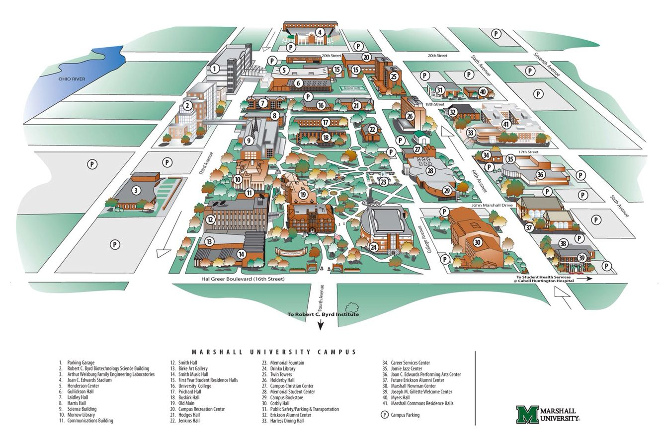 Marshall University Campus Map Campus Map | Marshall University | Marshall University (1837