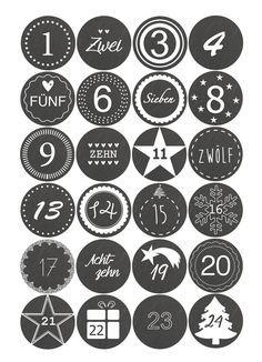 Adventskalender Sticker Zahlen   Schieferoptik