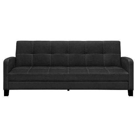 Delaney Sofa Sleeper Black Faux Leather Sofa Leather Futon