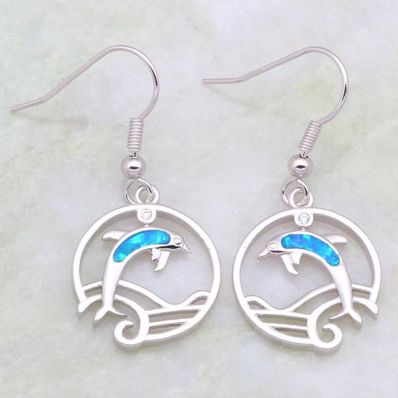 Blue Opal Dolphin Hoop Drop Earrings Jewelry Earrings Blue