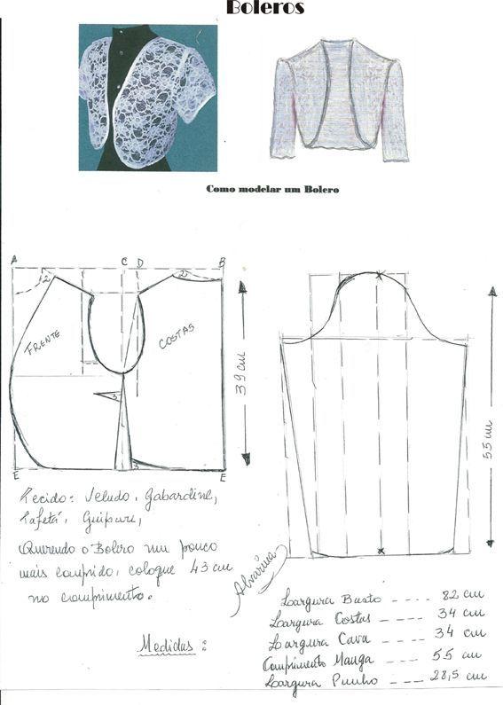 Costura e Modelagem | boleros | Pinterest | Costura, Patrones de ...