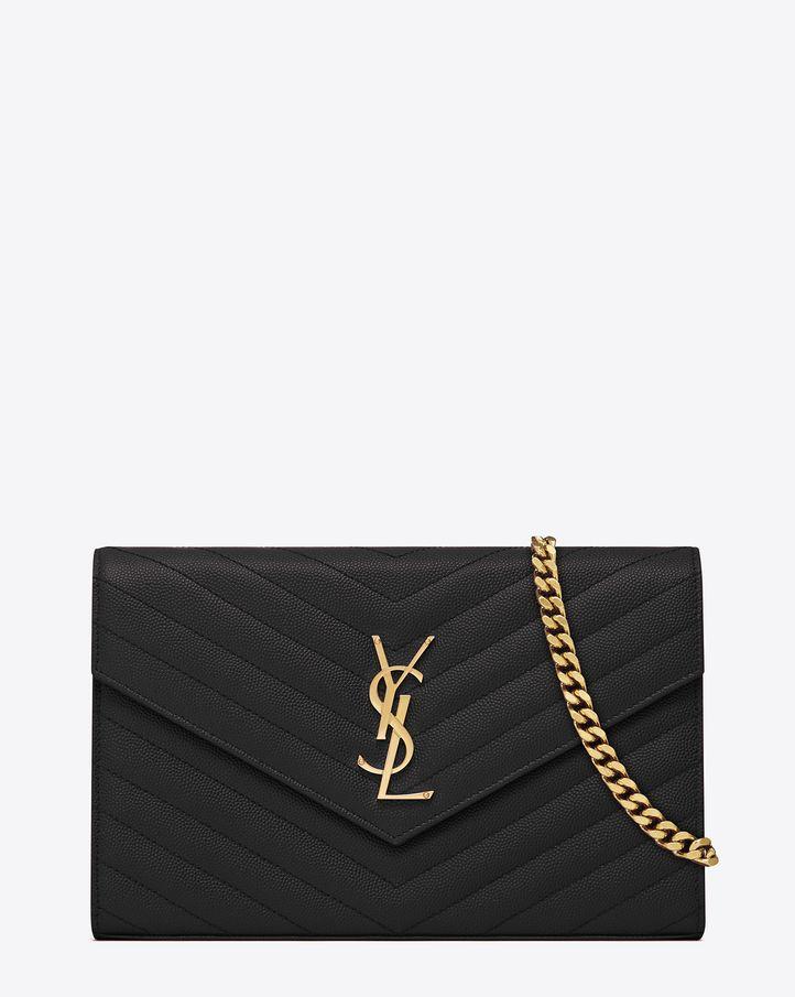 Saint Laurent Monogram Saint Laurent Chain Wallet In Black