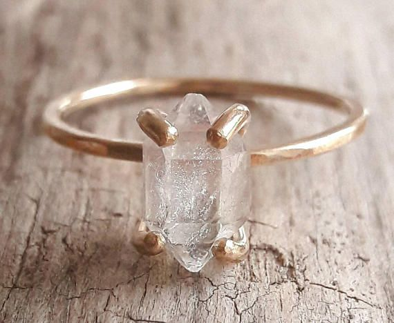 Boho Engagement ring Unique Engagement Ring Raw Stone Engagement Ring Herkimer Diamond Ring Beautiful Raw Diamond Ring