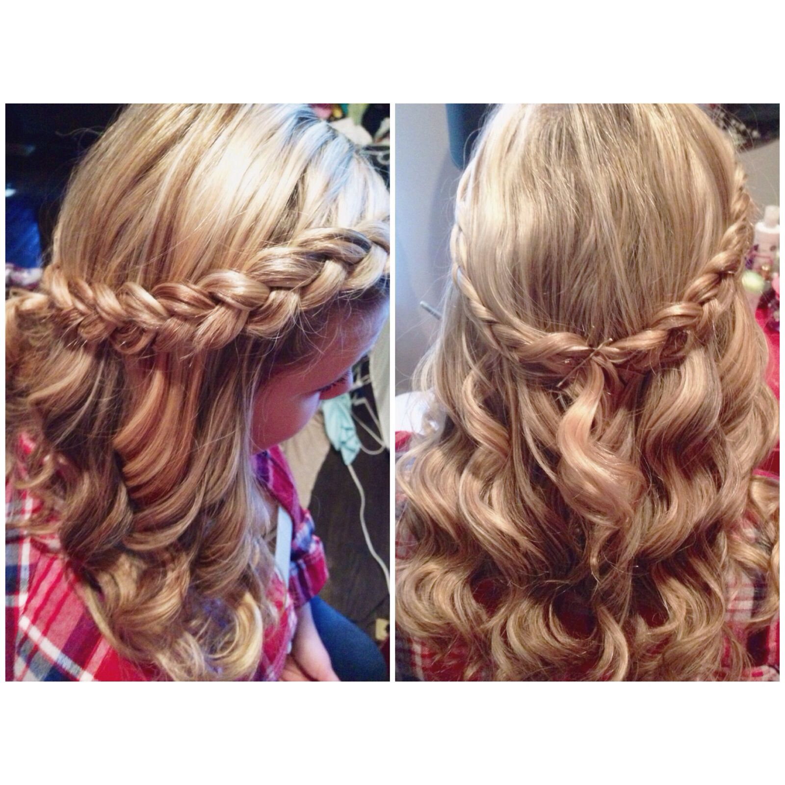 half up half down with inside out french braid prom hair | hair