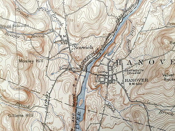 Antique Hanover, New Hampshire & White River Junction, Vermont 1908 on