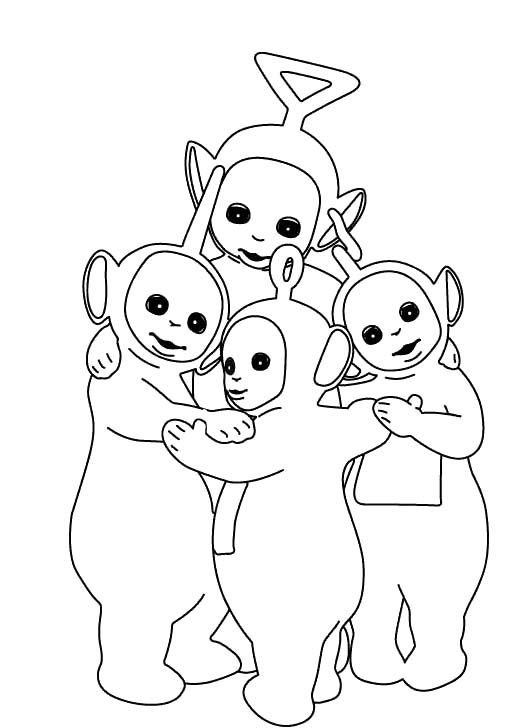 Printable Teletubbies Cuddle Coloring For Kids