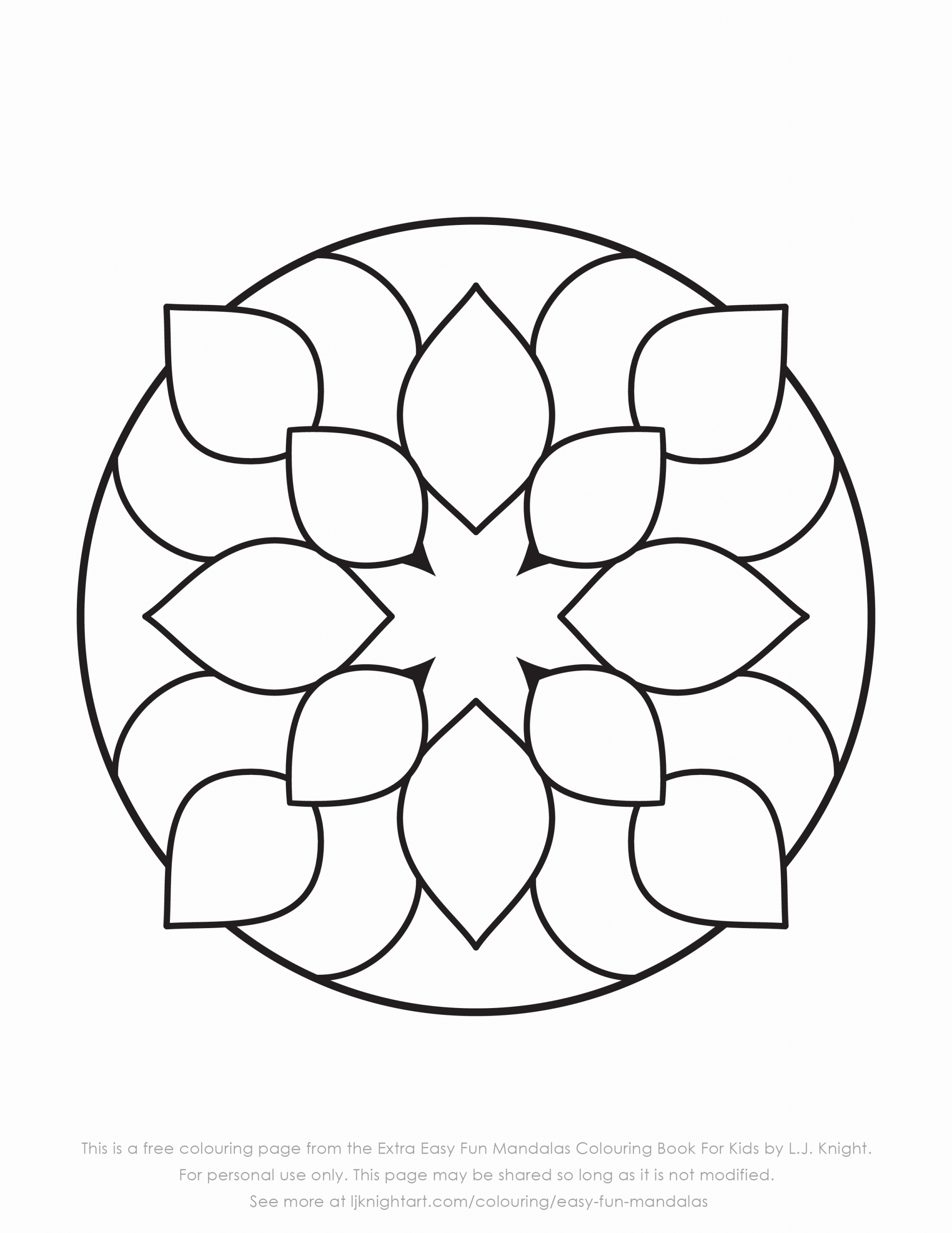 Easy Mandala Coloring Pages For Kids In