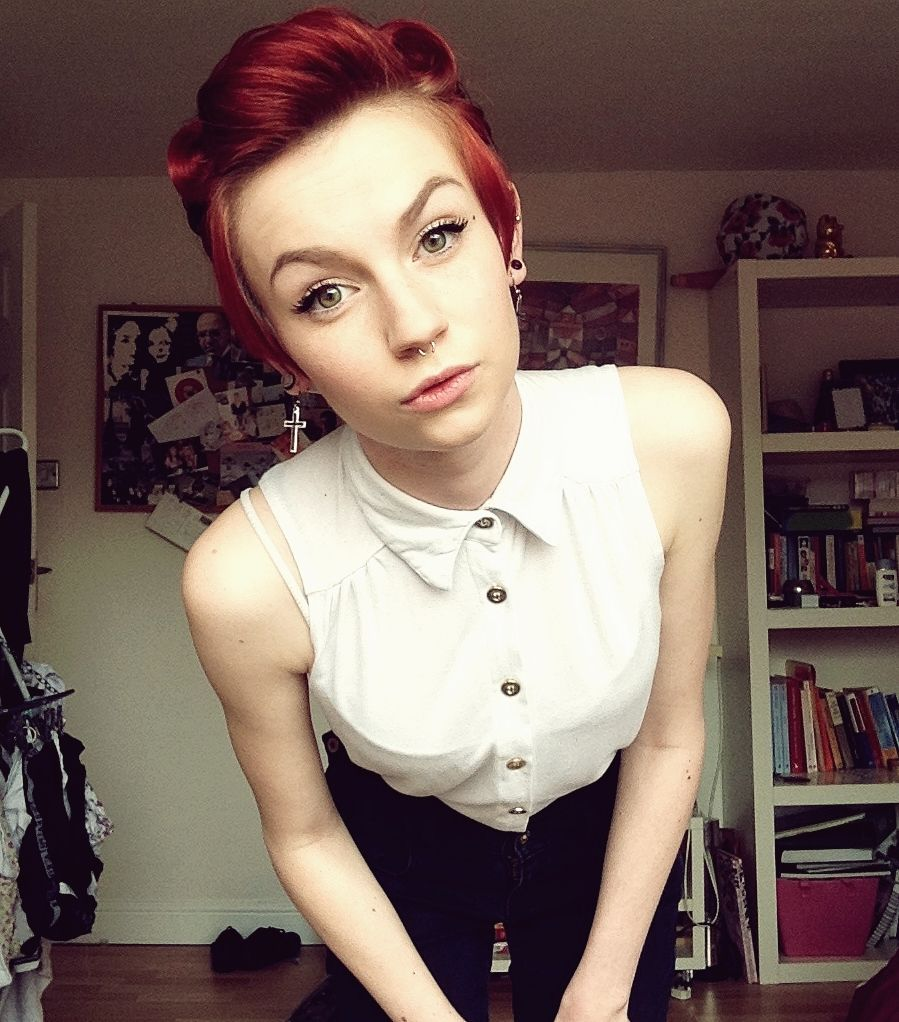 Red Short Hair - Victory Rolls